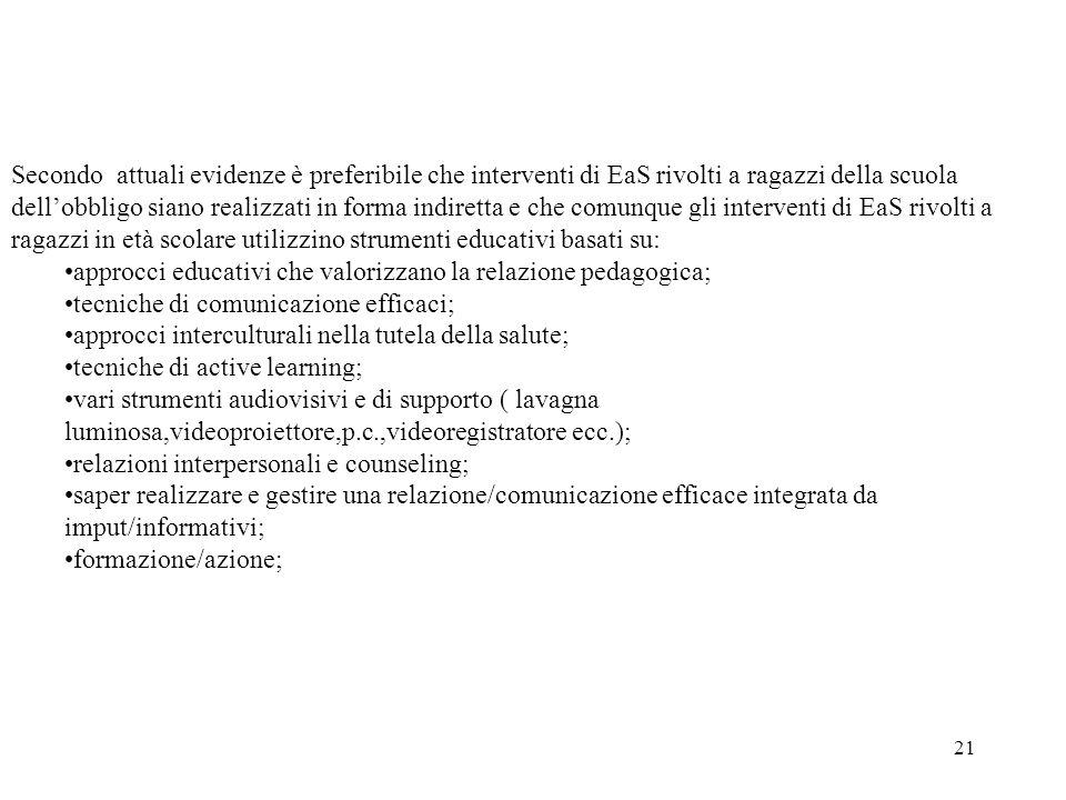 21 Secondo attuali evidenze è preferibile che interventi di EaS rivolti a ragazzi della scuola dellobbligo siano realizzati in forma indiretta e che c