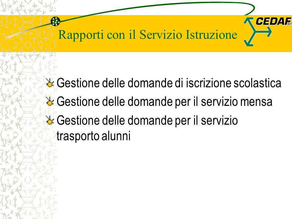 Rapporti con il Servizio Istruzione Gestione delle domande di iscrizione scolastica Gestione delle domande per il servizio mensa Gestione delle domande per il servizio trasporto alunni