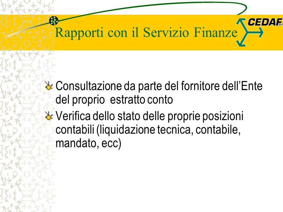 Rapporti con il Servizio Finanze Consultazione da parte del fornitore dellEnte del proprio estratto conto Verifica dello stato delle proprie posizioni contabili (liquidazione tecnica, contabile, mandato, ecc)