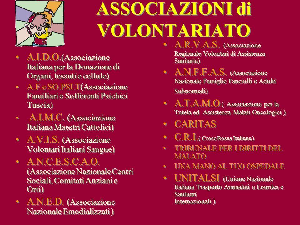 A.I.D.O.(Associazione Italiana per la Donazione di Organi, tessuti e cellule) A.F.e SO.PSI.T(Associazione Familiari e Sofferenti Psichici Tuscia) A.I.