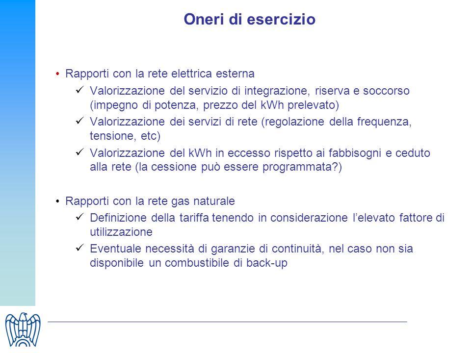 Oneri di esercizio Rapporti con la rete elettrica esterna Valorizzazione del servizio di integrazione, riserva e soccorso (impegno di potenza, prezzo