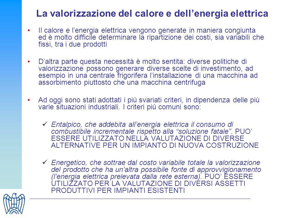 La valorizzazione del calore e dellenergia elettrica Il calore e lenergia elettrica vengono generate in maniera congiunta ed è molto difficile determi