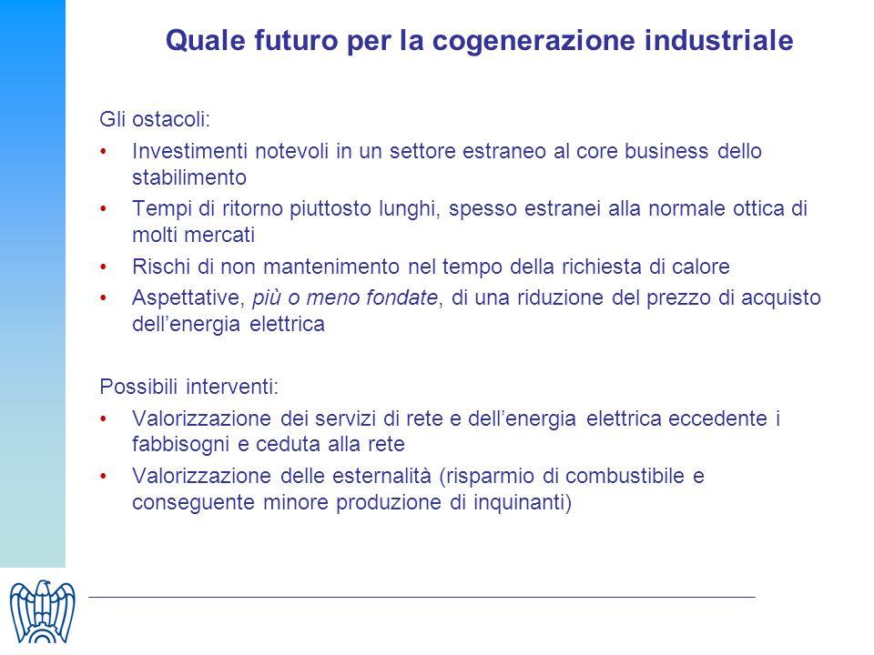 Quale futuro per la cogenerazione industriale Gli ostacoli: Investimenti notevoli in un settore estraneo al core business dello stabilimento Tempi di