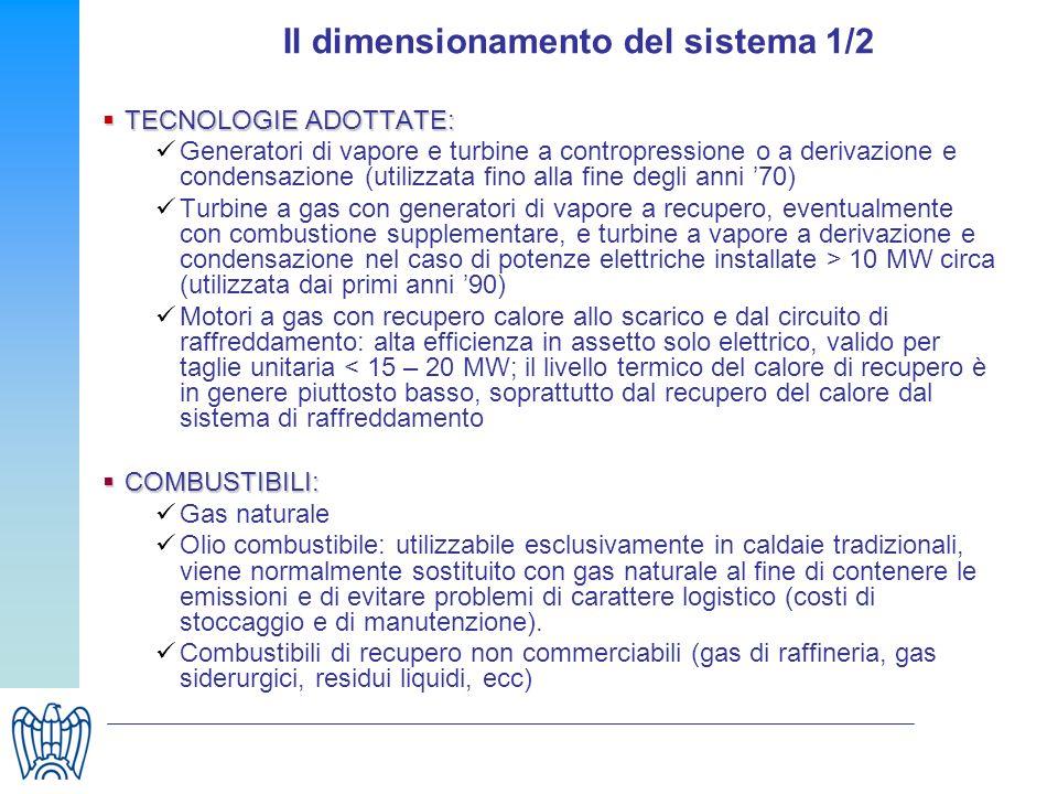 Il dimensionamento del sistema 1/2 TECNOLOGIE ADOTTATE: TECNOLOGIE ADOTTATE: Generatori di vapore e turbine a contropressione o a derivazione e conden