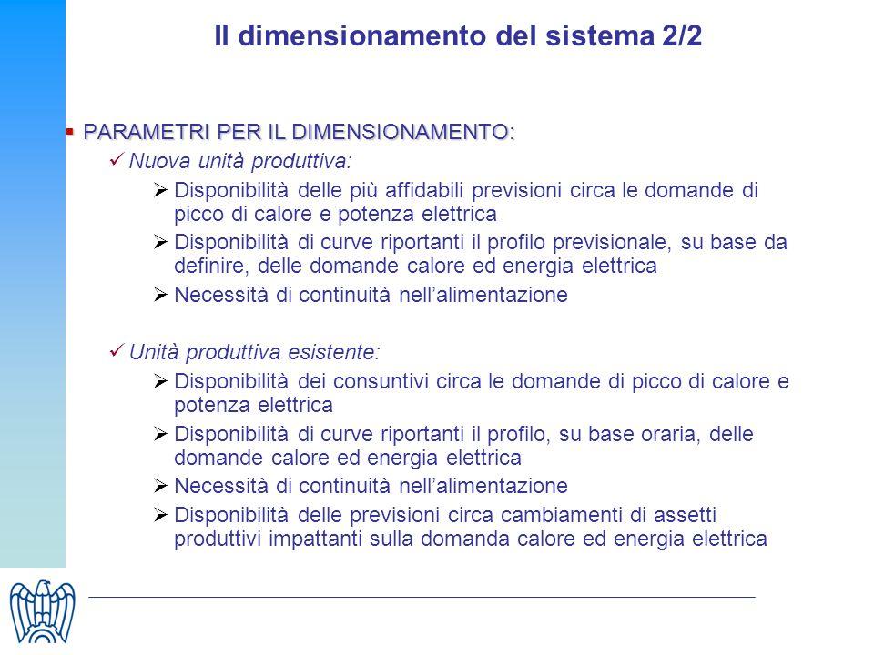 Il dimensionamento del sistema 2/2 PARAMETRI PER IL DIMENSIONAMENTO: PARAMETRI PER IL DIMENSIONAMENTO: Nuova unità produttiva: Disponibilità delle più
