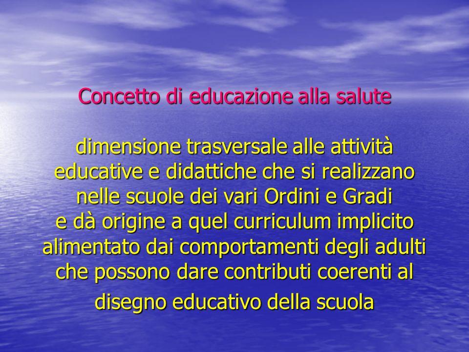 Concetto di educazione alla salute dimensione trasversale alle attività educative e didattiche che si realizzano nelle scuole dei vari Ordini e Gradi