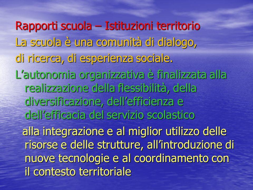 Rapporti scuola – Istituzioni territorio La scuola è una comunità di dialogo, di ricerca, di esperienza sociale. Lautonomia organizzativa è finalizzat