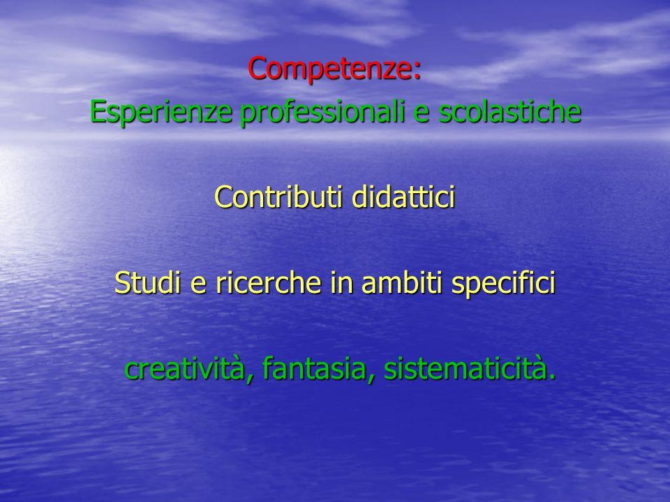 Competenze: Esperienze professionali e scolastiche Contributi didattici Studi e ricerche in ambiti specifici creatività, fantasia, sistematicità. crea
