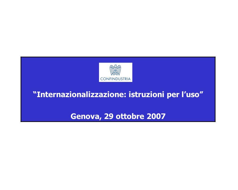 Internazionalizzazione: istruzioni per luso Genova, 29 ottobre 2007