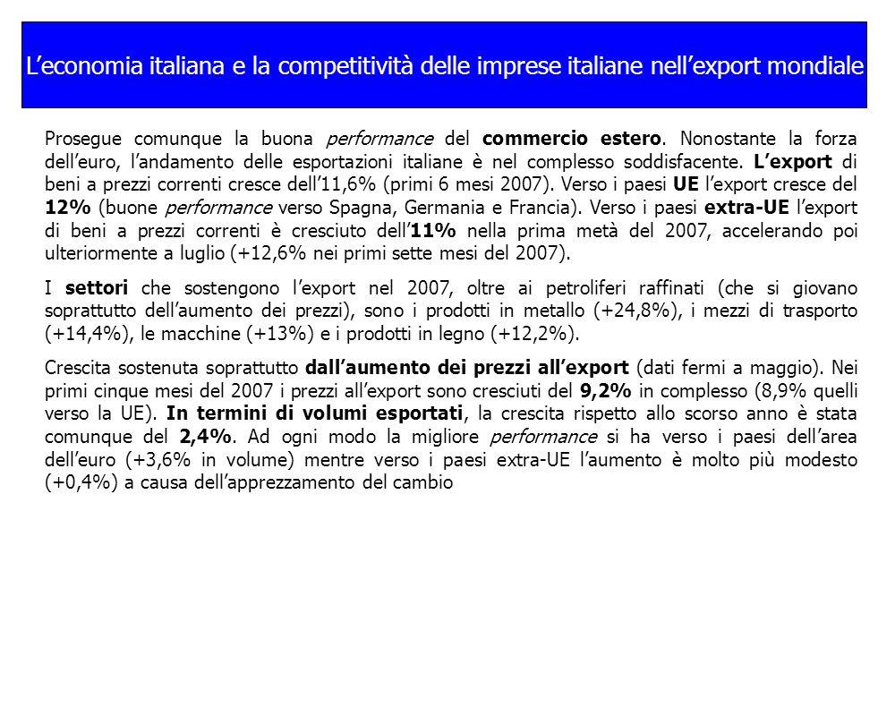 Leconomia italiana e la competitività delle imprese italiane nellexport mondiale Prosegue comunque la buona performance del commercio estero.