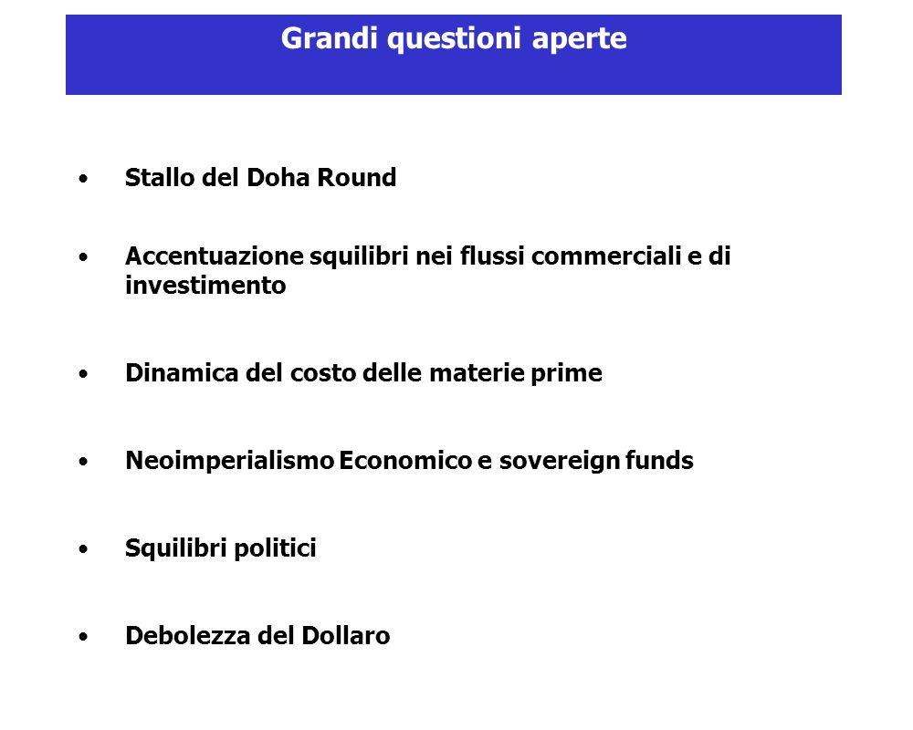 Stallo del Doha Round Accentuazione squilibri nei flussi commerciali e di investimento Dinamica del costo delle materie prime Neoimperialismo Economico e sovereign funds Squilibri politici Debolezza del Dollaro Grandi questioni aperte