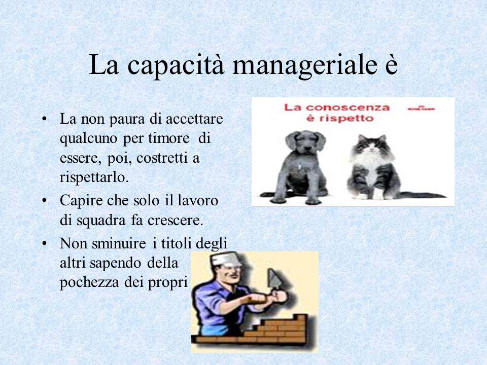 La capacità manageriale è La non paura di accettare qualcuno per timore di essere, poi, costretti a rispettarlo.
