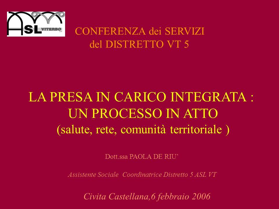 LA PRESA IN CARICO INTEGRATA : UN PROCESSO IN ATTO (salute, rete, comunità territoriale ) Dott.ssa PAOLA DE RIU Assistente Sociale Coordinatrice Distr