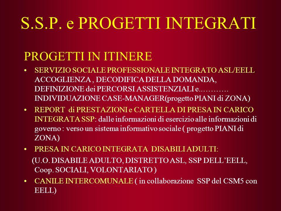 S.S.P. e PROGETTI INTEGRATI PROGETTI IN ITINERE SERVIZIO SOCIALE PROFESSIONALE INTEGRATO ASL/EELL: ACCOGLIENZA, DECODIFICA DELLA DOMANDA, DEFINIZIONE