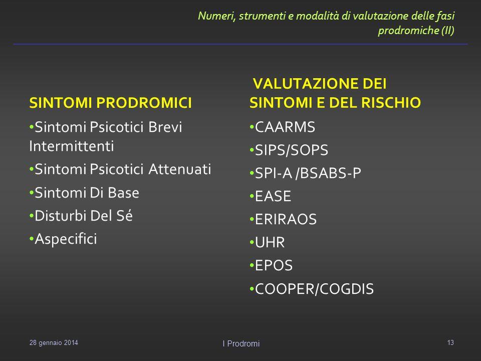 Numeri, strumenti e modalità di valutazione delle fasi prodromiche (II) SINTOMI PRODROMICI Sintomi Psicotici Brevi Intermittenti Sintomi Psicotici Att