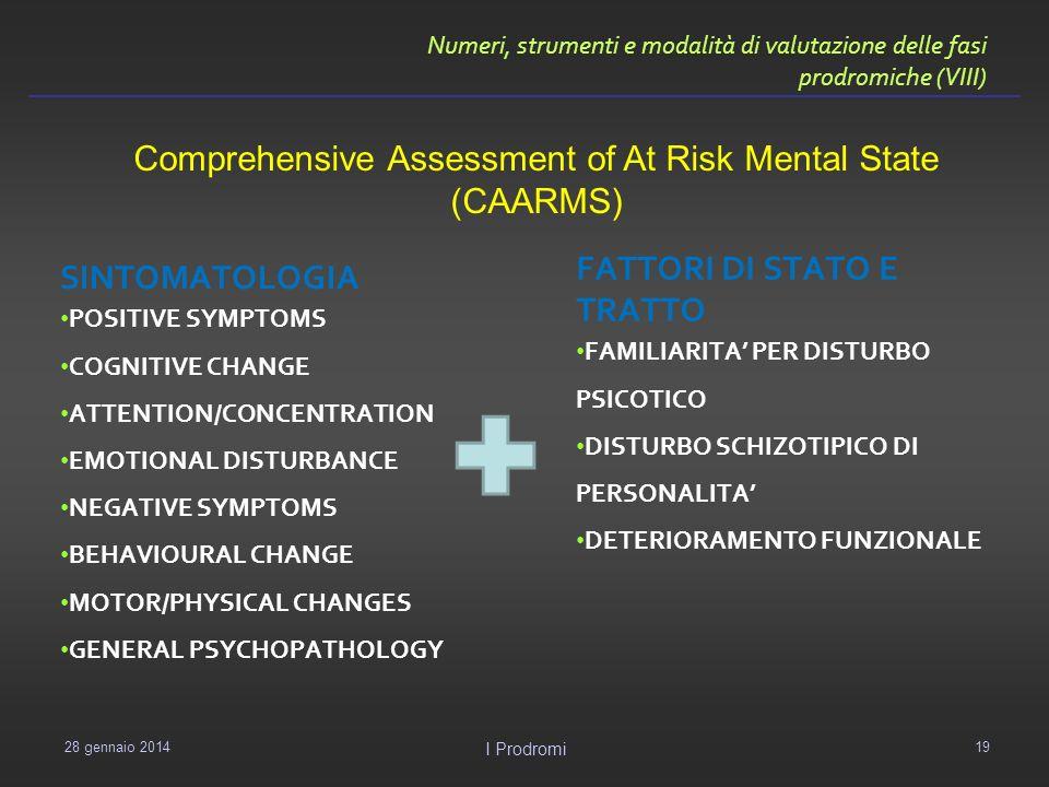 Numeri, strumenti e modalità di valutazione delle fasi prodromiche (VIII) SINTOMATOLOGIA POSITIVE SYMPTOMS COGNITIVE CHANGE ATTENTION/CONCENTRATION EM