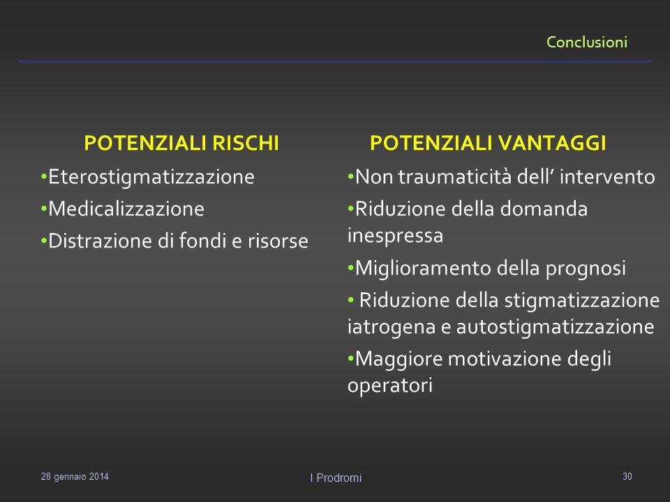 Conclusioni POTENZIALI RISCHI Eterostigmatizzazione Medicalizzazione Distrazione di fondi e risorse POTENZIALI VANTAGGI Non traumaticità dell interven