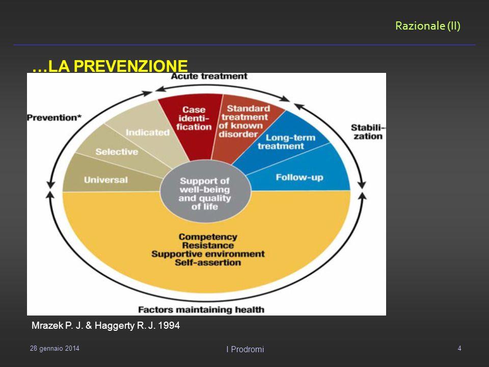 Razionale (III) L attività di prevenzione e di intervento precoce sono direttamente proporzionali all idea che abbiamo della malattia in questione (…) McGorry et al.
