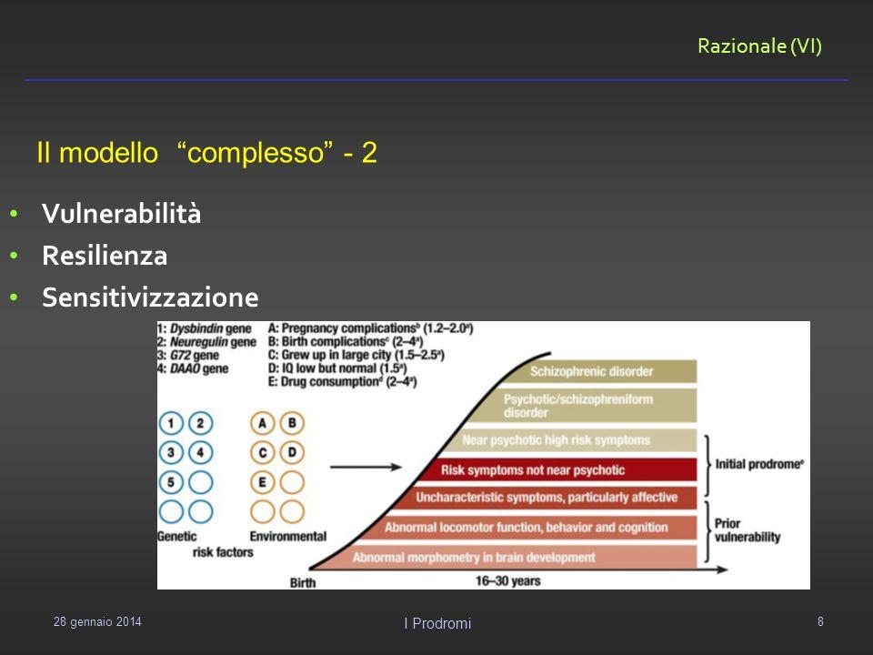 Razionale (VI) 29 gennaio 2014 I Prodromi 8 Vulnerabilità Resilienza Sensitivizzazione Il modello complesso - 2