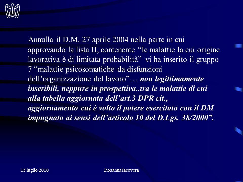 15 luglio 2010Rosanna Iacovera Annulla il D.M.