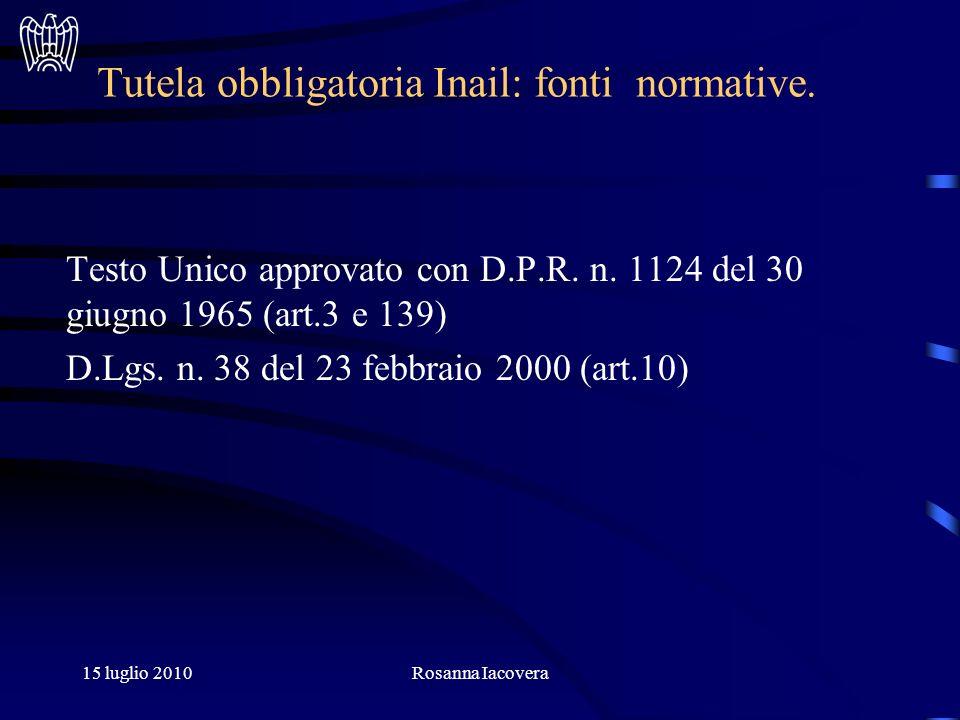 15 luglio 2010Rosanna Iacovera Tutela obbligatoria Inail: fonti normative.