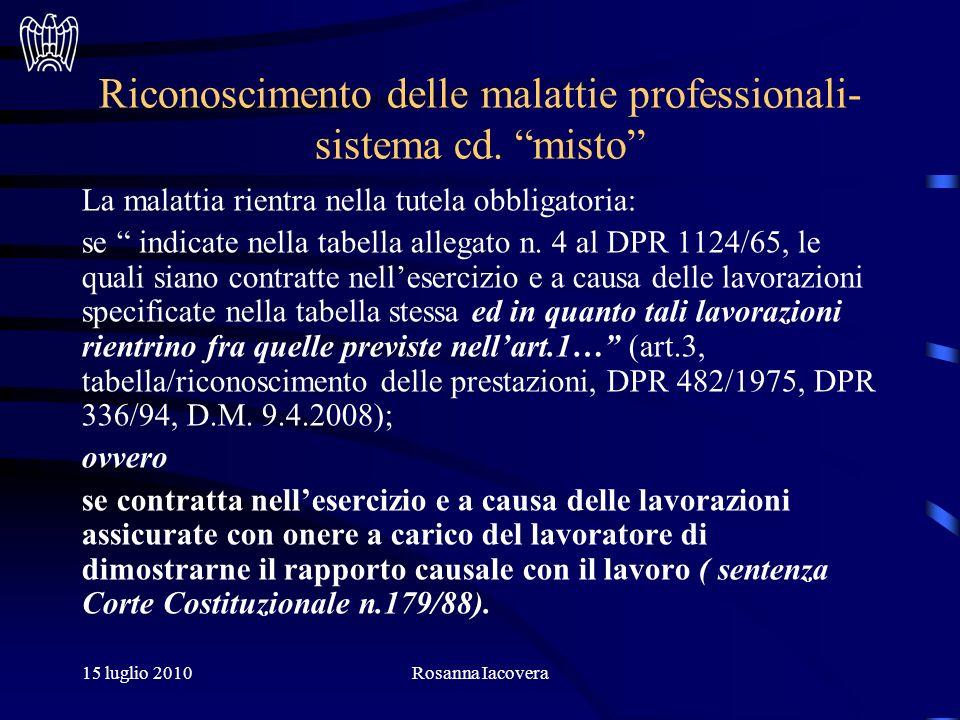 15 luglio 2010Rosanna Iacovera Riconoscimento delle malattie professionali- sistema cd.