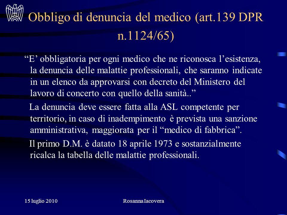 15 luglio 2010Rosanna Iacovera Art.10 D.Lgs.