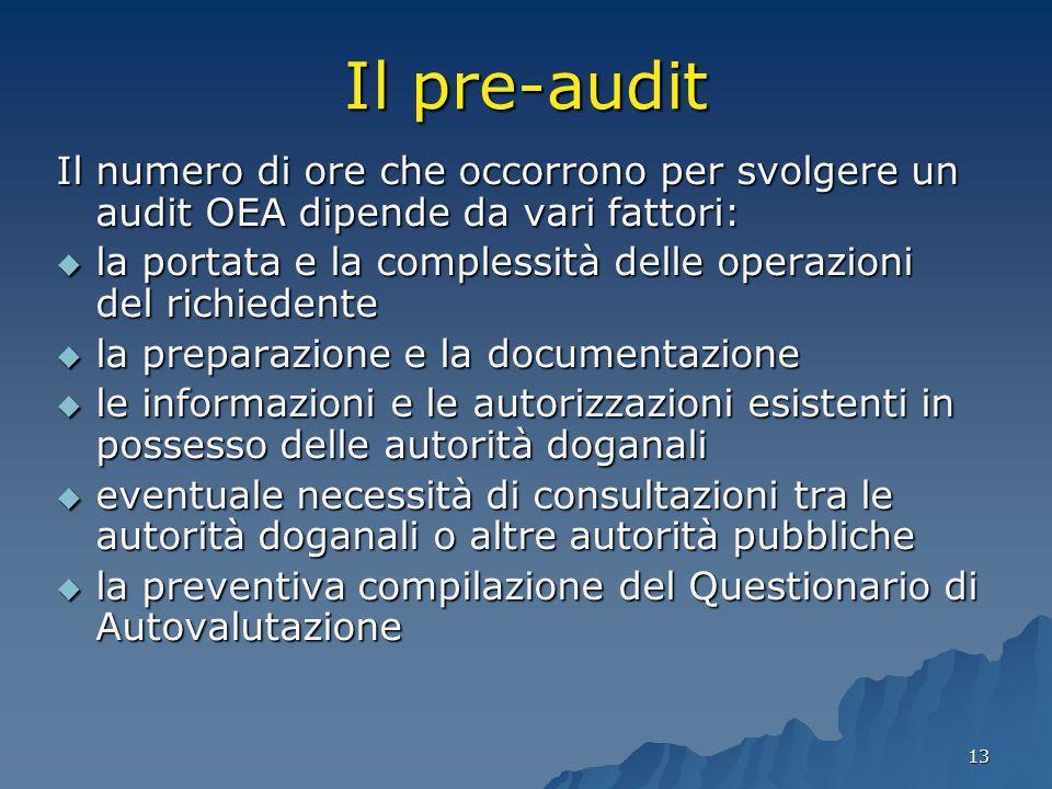 13 Il pre-audit Il numero di ore che occorrono per svolgere un audit OEA dipende da vari fattori: la portata e la complessità delle operazioni del ric