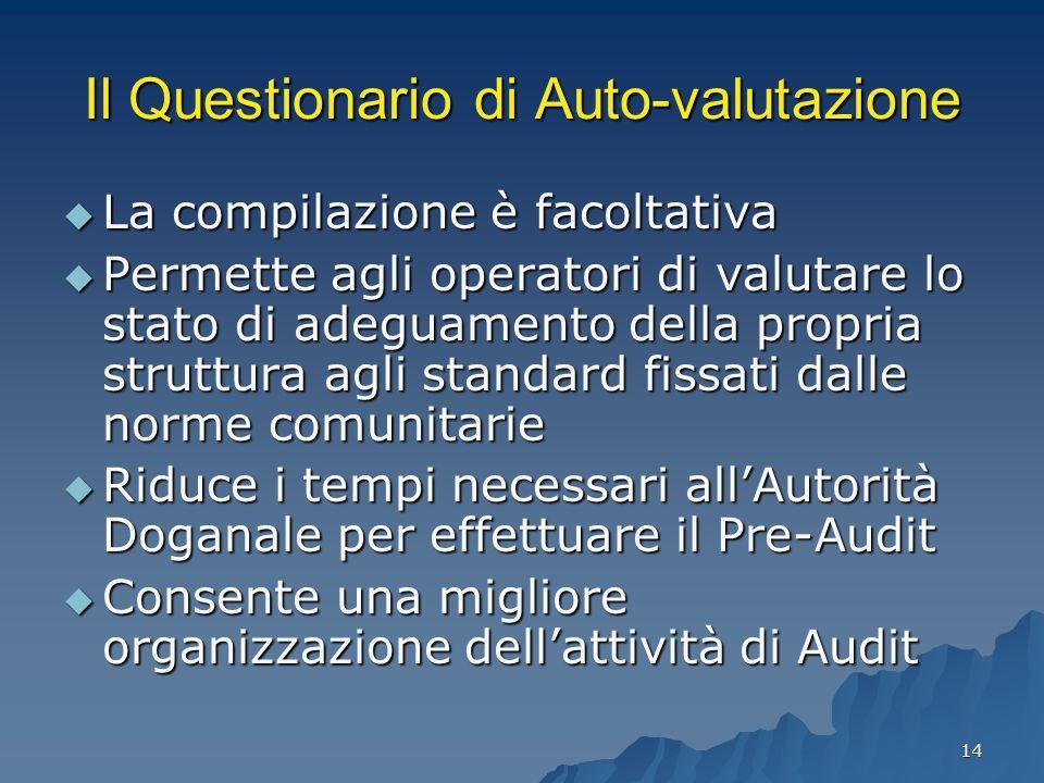 14 Il Questionario di Auto-valutazione La compilazione è facoltativa La compilazione è facoltativa Permette agli operatori di valutare lo stato di ade