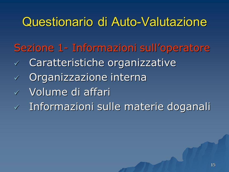 15 Questionario di Auto-Valutazione Sezione 1- Informazioni sulloperatore Caratteristiche organizzative Caratteristiche organizzative Organizzazione i