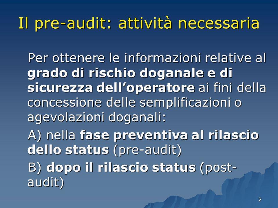 2 Il pre-audit: attività necessaria Per ottenere le informazioni relative al grado di rischio doganale e di sicurezza delloperatore ai fini della conc