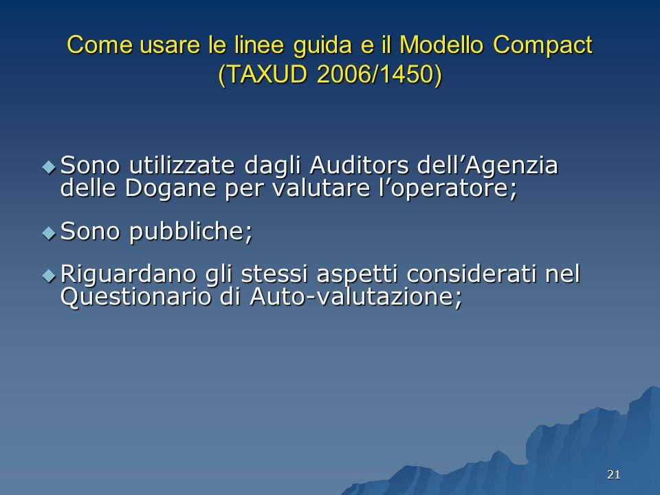 21 Come usare le linee guida e il Modello Compact (TAXUD 2006/1450) Sono utilizzate dagli Auditors dellAgenzia delle Dogane per valutare loperatore; S