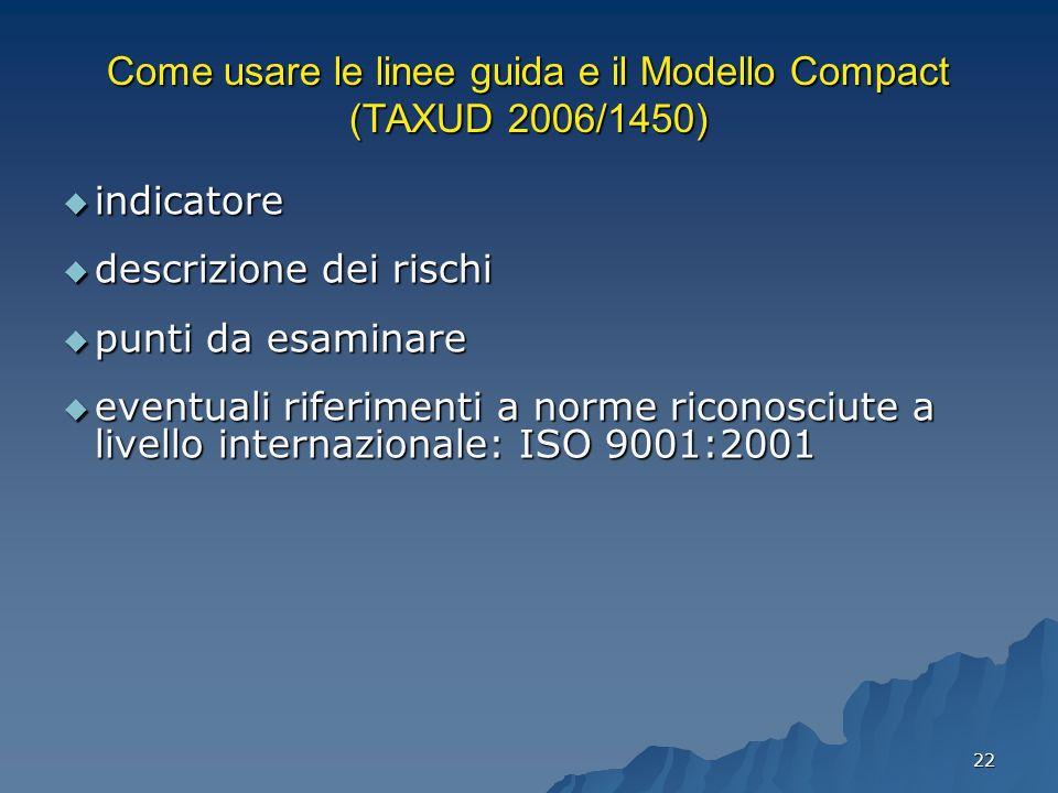 22 Come usare le linee guida e il Modello Compact (TAXUD 2006/1450) indicatore indicatore descrizione dei rischi descrizione dei rischi punti da esami
