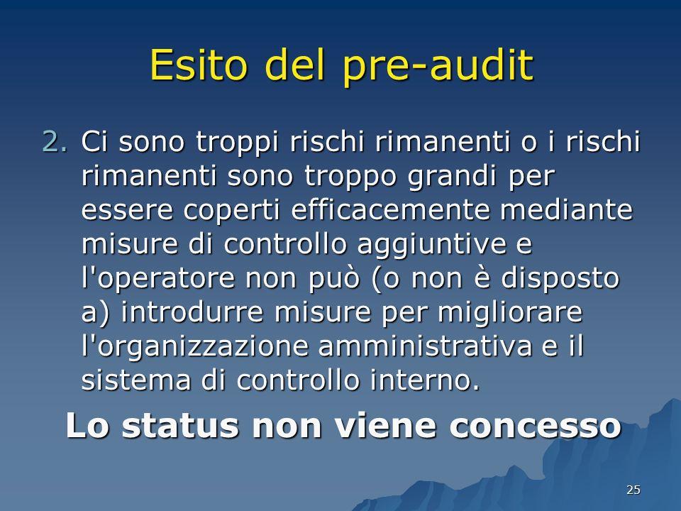 25 Esito del pre-audit 2.Ci sono troppi rischi rimanenti o i rischi rimanenti sono troppo grandi per essere coperti efficacemente mediante misure di c
