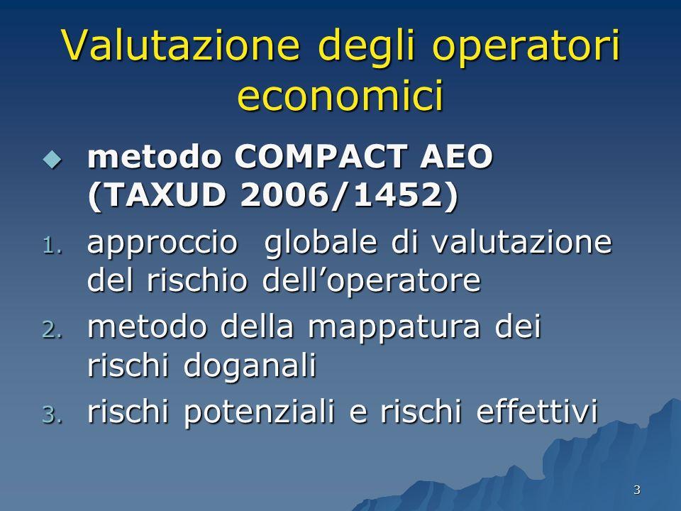 3 Valutazione degli operatori economici metodo COMPACT AEO (TAXUD 2006/1452) metodo COMPACT AEO (TAXUD 2006/1452) 1. approccio globale di valutazione