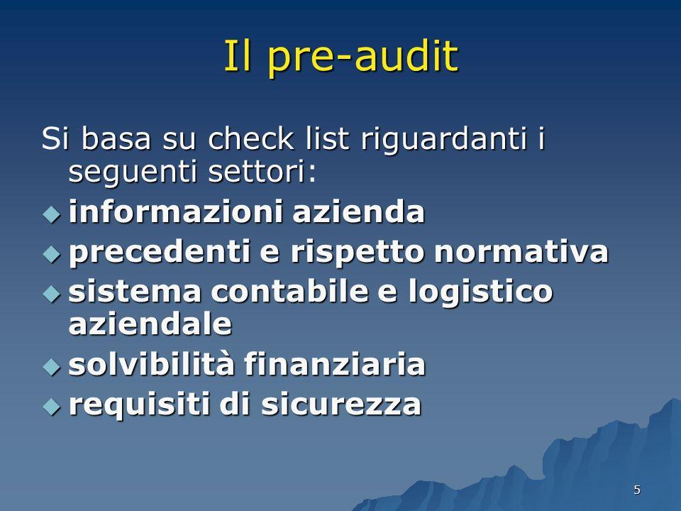 5 Il pre-audit i basa su check list riguardanti i seguenti settori Si basa su check list riguardanti i seguenti settori: informazioni azienda informaz