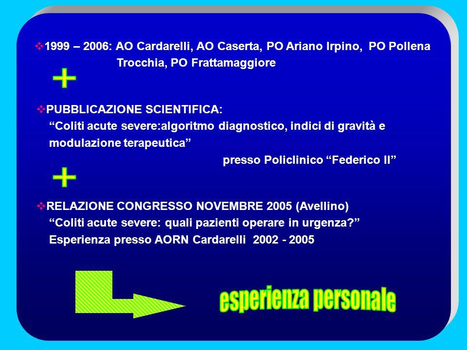 1999 – 2006: AO Cardarelli, AO Caserta, PO Ariano Irpino, PO Pollena Trocchia, PO Frattamaggiore PUBBLICAZIONE SCIENTIFICA: Coliti acute severe:algori