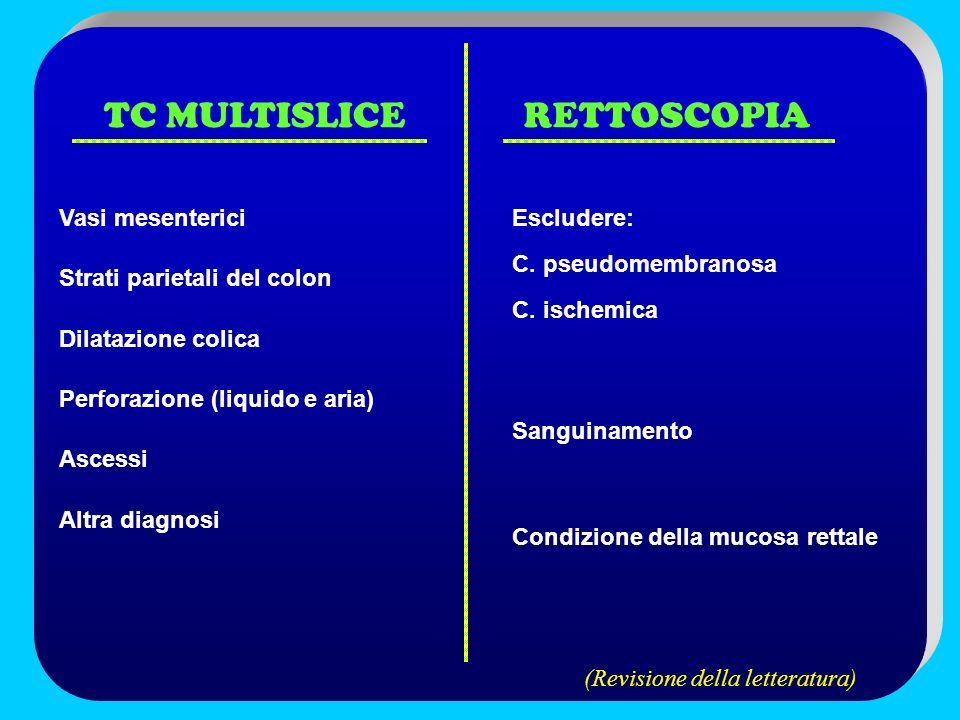 TC MULTISLICERETTOSCOPIA Vasi mesenterici Strati parietali del colon Dilatazione colica Perforazione (liquido e aria) Ascessi Altra diagnosi Escludere