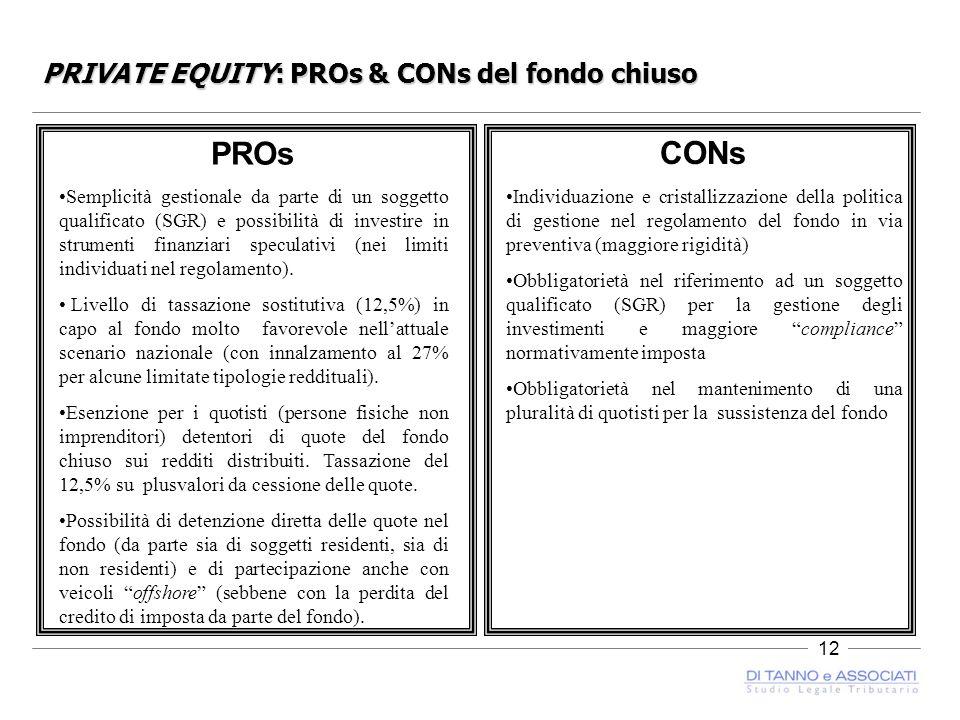12 PRIVATE EQUITY: PROs & CONs del fondo chiuso PROs Semplicità gestionale da parte di un soggetto qualificato (SGR) e possibilità di investire in strumenti finanziari speculativi (nei limiti individuati nel regolamento).