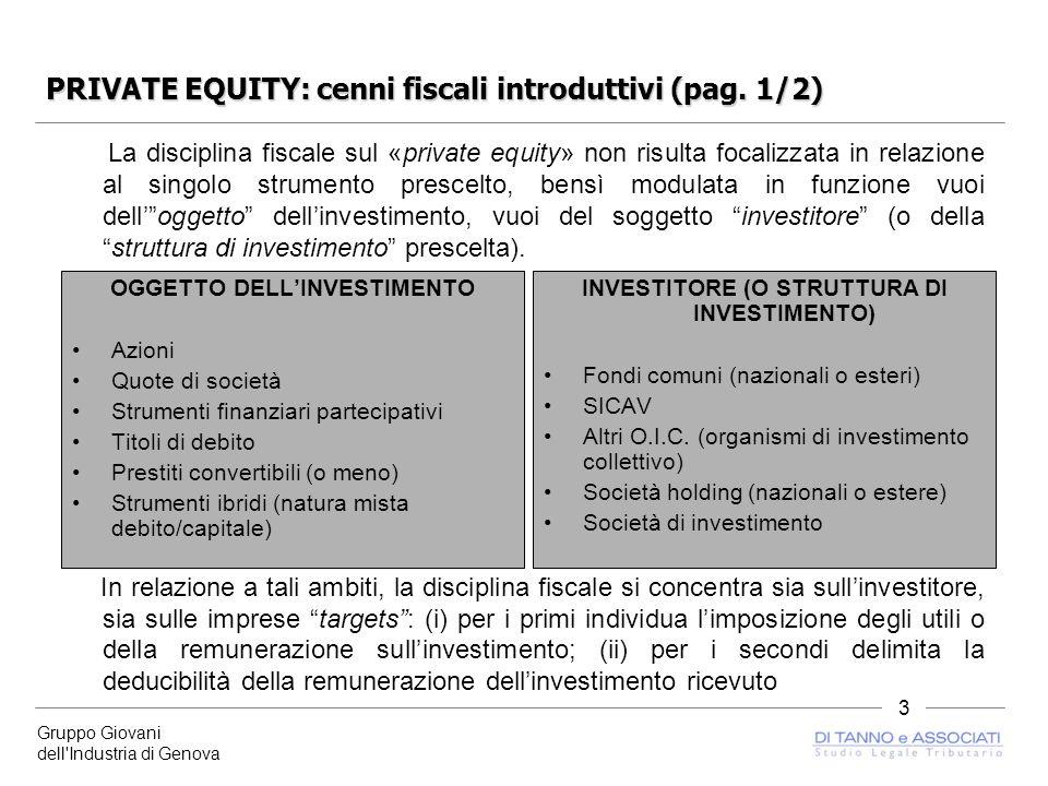 Gruppo Giovani dell Industria di Genova 3 PRIVATE EQUITY: cenni fiscali introduttivi (pag.