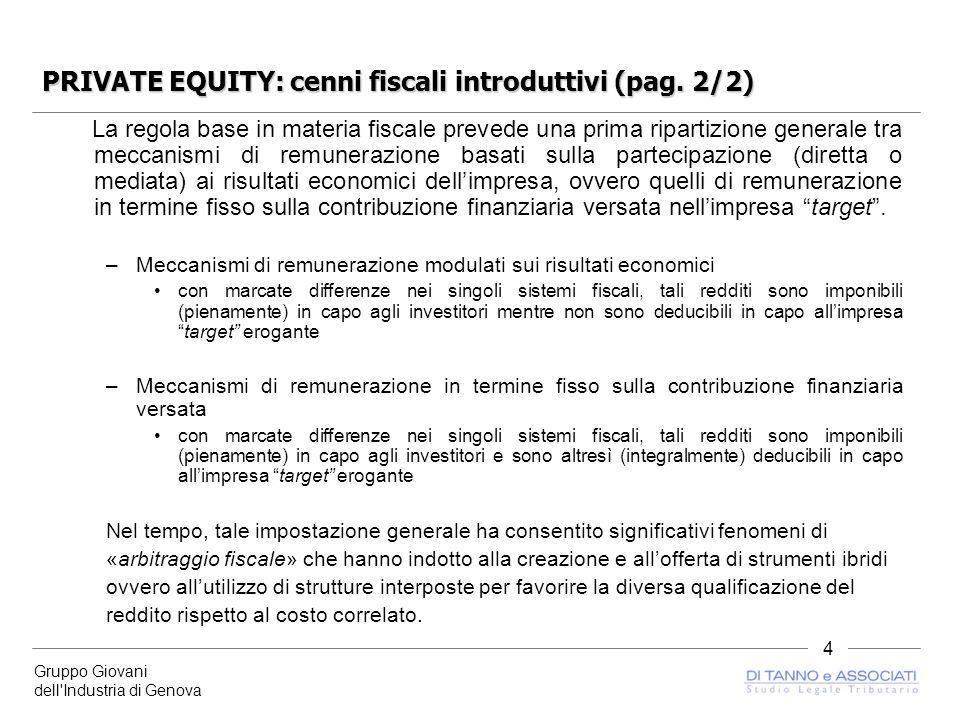 Gruppo Giovani dell Industria di Genova 4 PRIVATE EQUITY: cenni fiscali introduttivi (pag.
