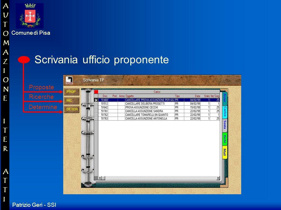 Patrizio Geri - SSI Comune di Pisa AUTOMAZIONE ITER ATTIAUTOMAZIONE ITER ATTI Questo software consente di pilotare uno scambio di documenti tra le scrivanie in modo da creare un flusso informativo che sta alla base del procedimento amministrativo Ad ogni scrivania viene associata una serie di azioni da compiere