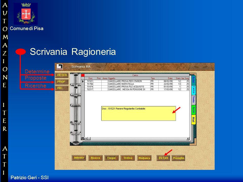 Patrizio Geri - SSI Comune di Pisa AUTOMAZIONE ITER ATTIAUTOMAZIONE ITER ATTI Scrivania ufficio proponente Proposte Ricerche Determine