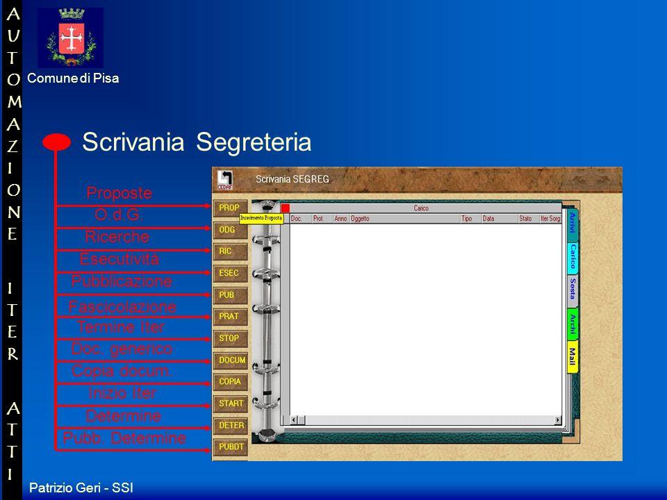 Patrizio Geri - SSI Comune di Pisa AUTOMAZIONE ITER ATTIAUTOMAZIONE ITER ATTI Scrivania Ragioneria Ricerche Proposte Determine