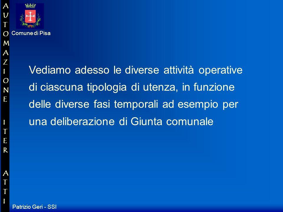 Patrizio Geri - SSI Comune di Pisa AUTOMAZIONE ITER ATTIAUTOMAZIONE ITER ATTI Scrivania Segreteria Proposte Pubb.