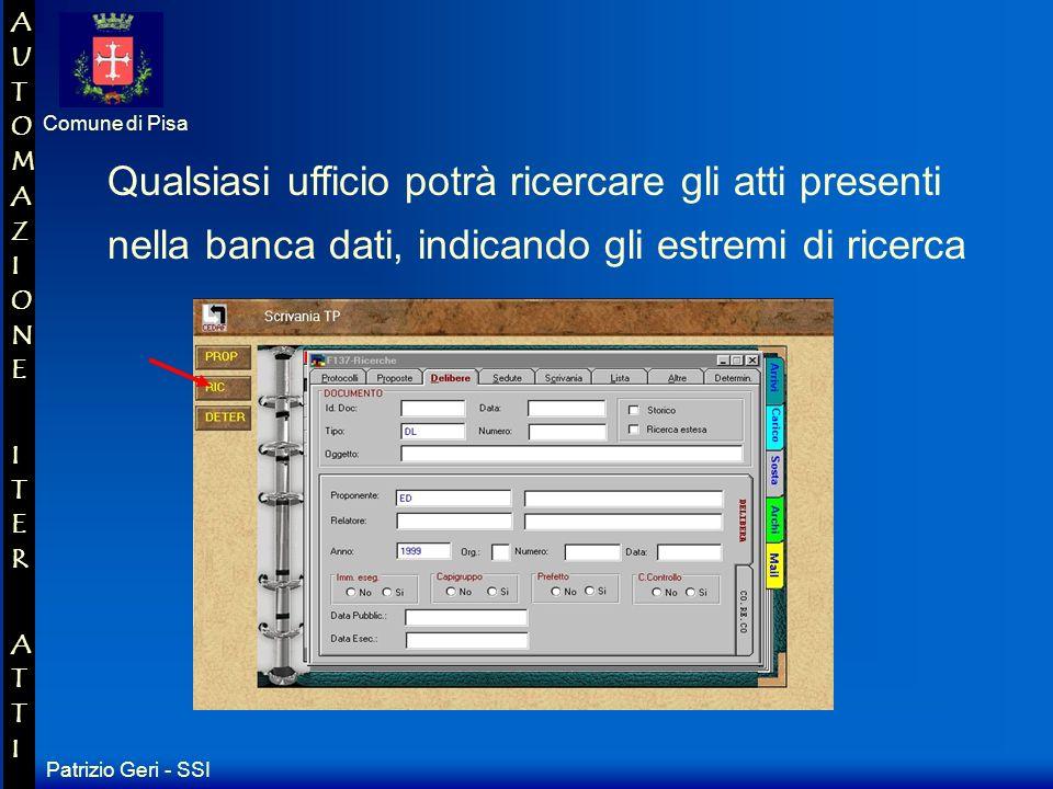 Patrizio Geri - SSI Comune di Pisa AUTOMAZIONE ITER ATTIAUTOMAZIONE ITER ATTI Fase Post-seduta Ambito Segreteria Attività Atti non iscritti allO.d.G.