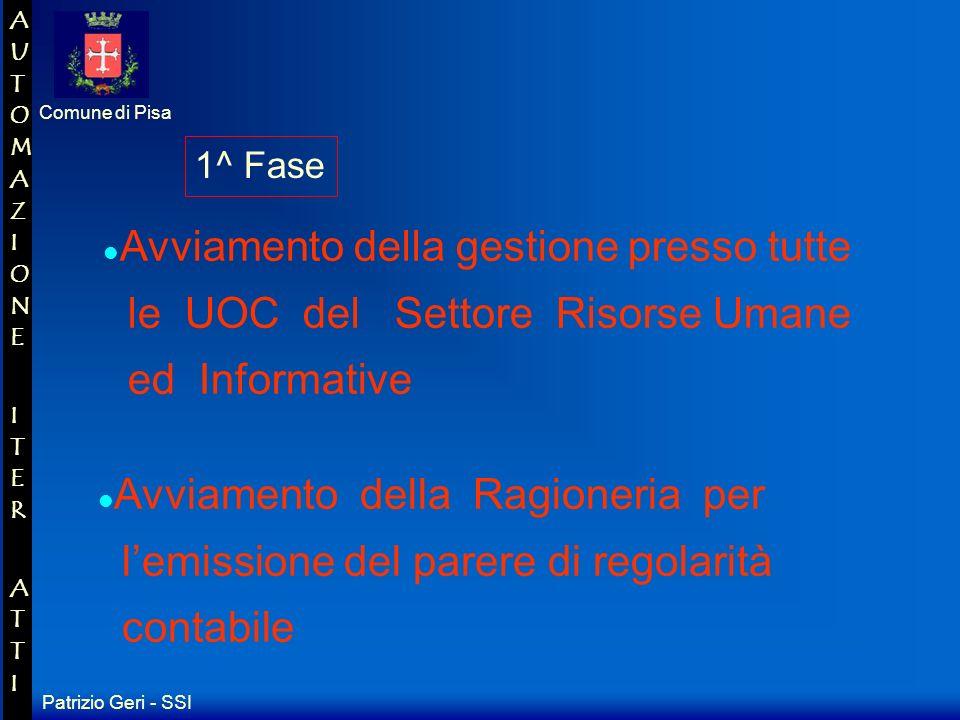 Patrizio Geri - SSI Comune di Pisa AUTOMAZIONE ITER ATTIAUTOMAZIONE ITER ATTI Si tratta adesso di definire le specifiche per lavviamento alla Gestione delliter delle delibere in rete...