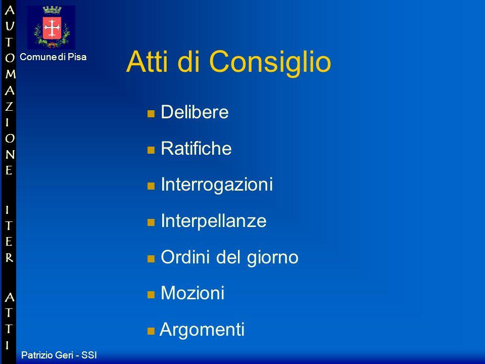 Patrizio Geri - SSI Comune di Pisa AUTOMAZIONE ITER ATTIAUTOMAZIONE ITER ATTI Ordinanze Decisioni Atti del Sindaco