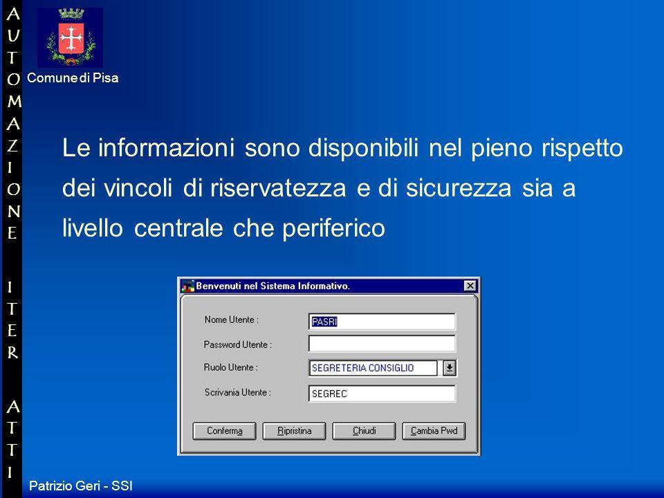 Patrizio Geri - SSI Comune di Pisa AUTOMAZIONE ITER ATTIAUTOMAZIONE ITER ATTI La scrivania virtuale può ospitare uno o più utenti (persone fisiche che manipolano o consultano documenti).