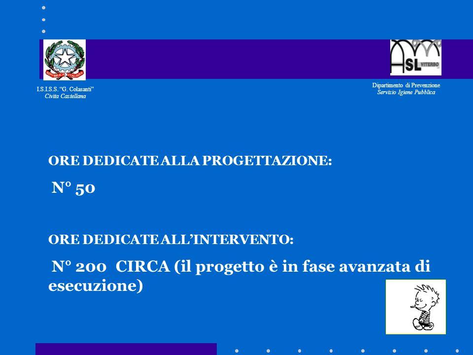 I.S.I.S.S. G. Colasanti Civita Castellana Dipartimento di Prevenzione Servizio Igiene Pubblica RESPONSABILE DEL PROGETTO: dr. D. Spera DIPARTIMENTO DI
